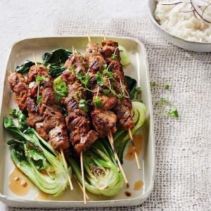 Lemongrass Pork Skewers & Greens